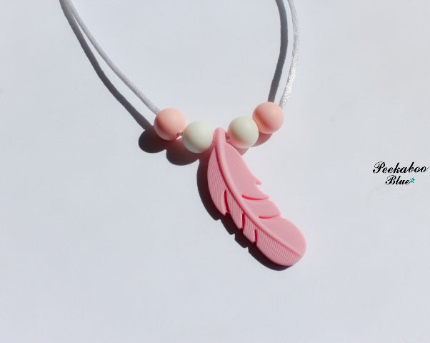 Pink and White Toddler Feather Silicone Teething Necklace