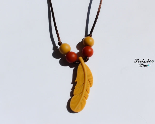 Silicone Feather Caramel Teething Necklace