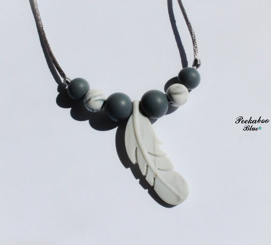 White Marble Silicone Feather Teething Necklace