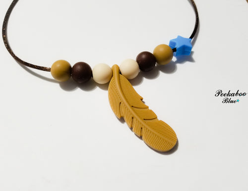 Caramel Silicone Feather Teething Necklace