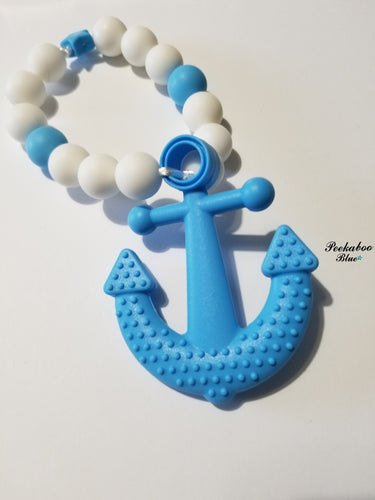 Blue Silicone Teething Ring Anchor