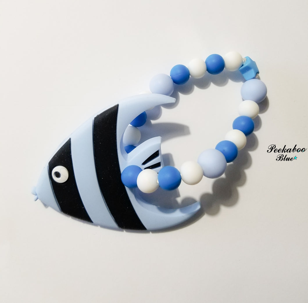 Blue Fish Silicone Teething Ring