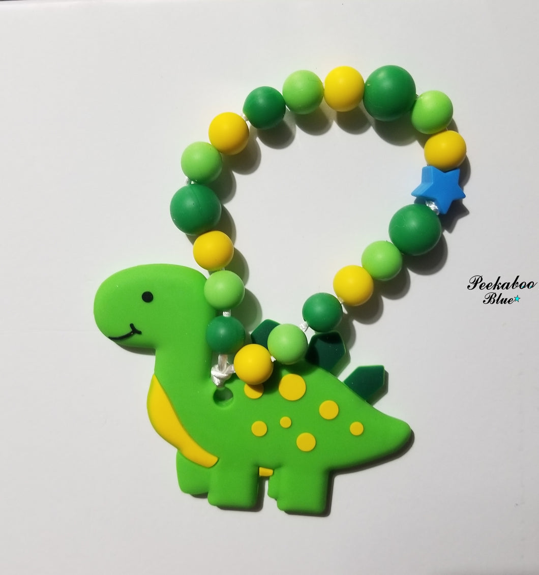 Green Dino Teething Ring