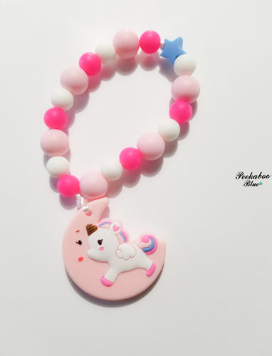 Pink Unicorn Teething Ring Toy