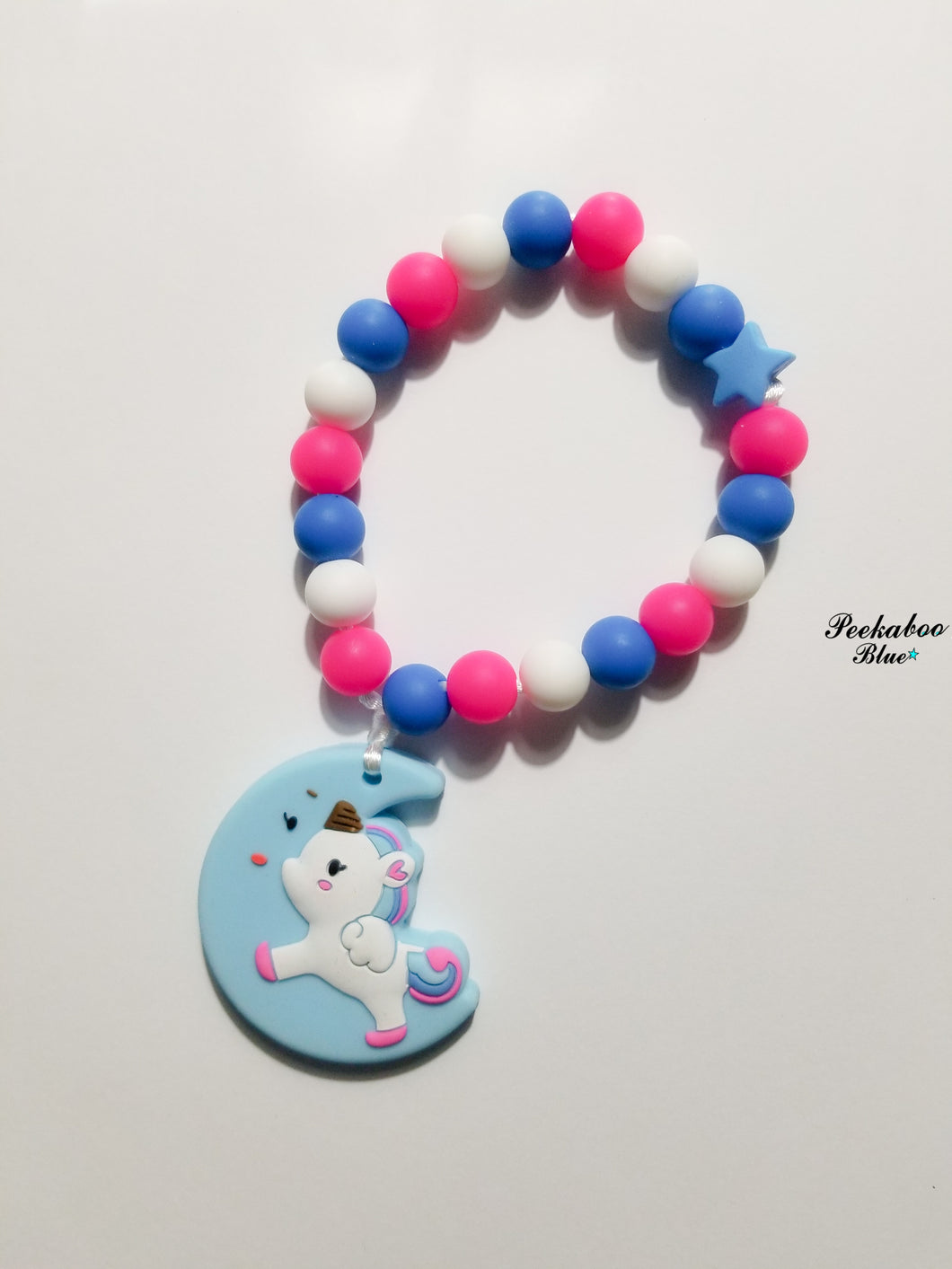 Blue Unicorn Teething Ring Toy