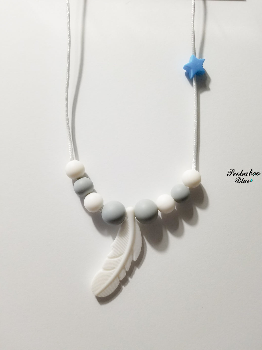 White and Light Gray Toddler Feather Necklace