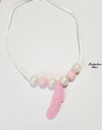 Pink and Pearl Silicone Toddler Teething Necklace