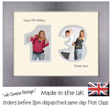 "13th Birthday Photo Frame - Thirteenth Birthday Landscape photo frame 1177F 9""x7"" mount size  , Choices of frames & Borders"