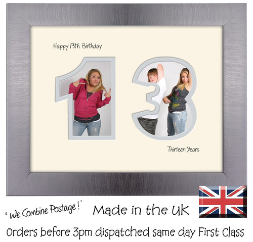 13th Birthday Photo Frame - Thirteenth Birthday Landscape photo frame 1177F 9