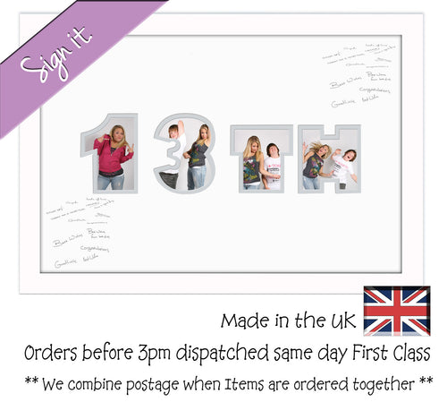 13th Birthday Signing Double Mounted Photo Frame 867D 450mm x 297mm mount size  , Choices of frames & Borders