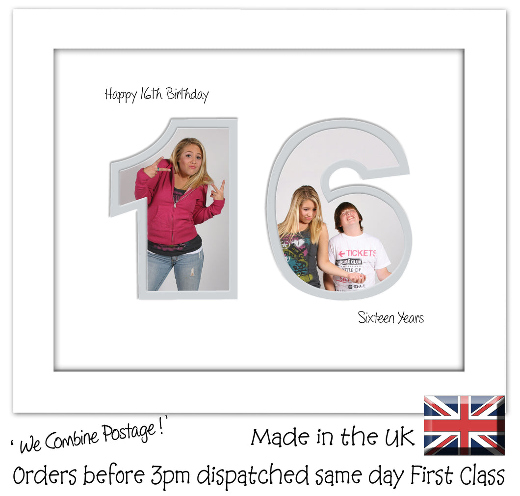 16th Birthday Photo Frame - Sixteenth Birthday Landscape photo frame 1178F 9