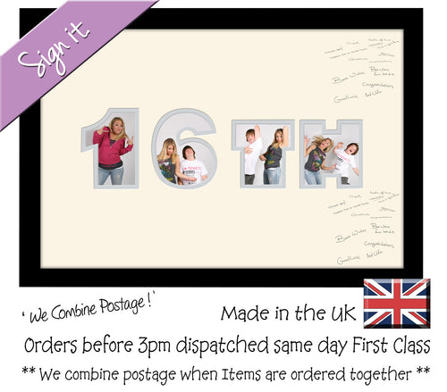 16th Birthday Signing Double Mounted Photo Frame 868D 450mm x 297mm mount size  , Choices of frames & Borders