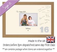 "16th Birthday Signing Guest Photo Frame Gift 7""x5"" Photo by Photos in a Word 652D 450mm x 297mm mount size , Choices of frames & Borders"