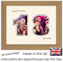 "18th Birthday Photo Frame - Eighteenth Birthday Landscape photo frame 1179F 9""x7"" mount size  , Choices of frames & Borders"