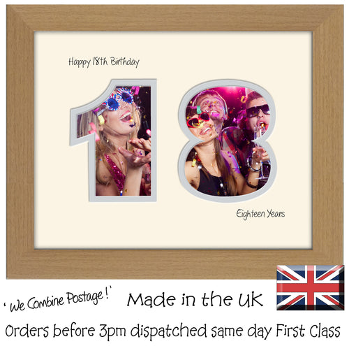 18th Birthday Photo Frame - Eighteenth Birthday Landscape photo frame 1179F 9