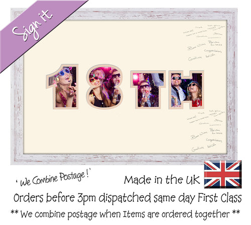 18th Birthday Signing Double Mounted Photo Frame 869D 450mm x 297mm mount size  , Choices of frames & Borders