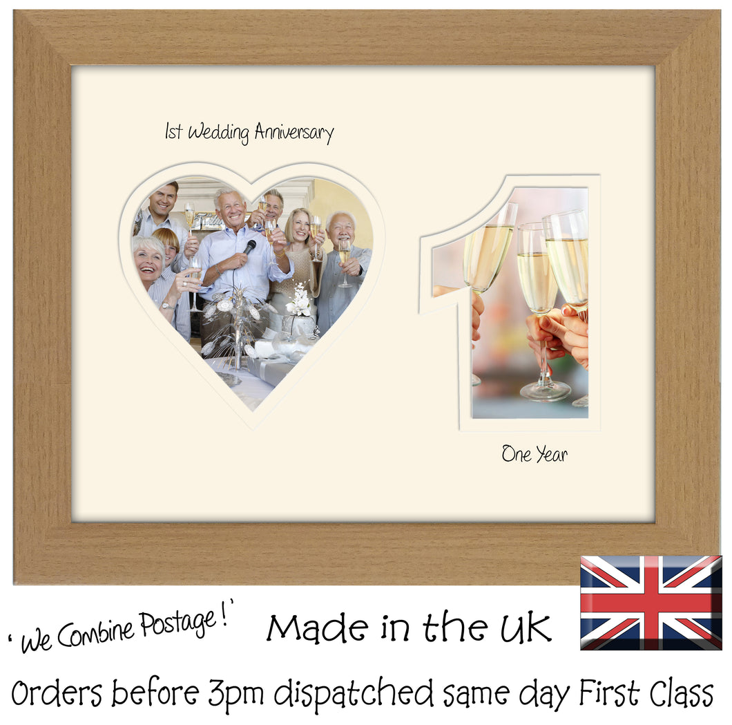 1st Anniversary Photo Frame - First Anniversary Landscape photo frame 1190F 9