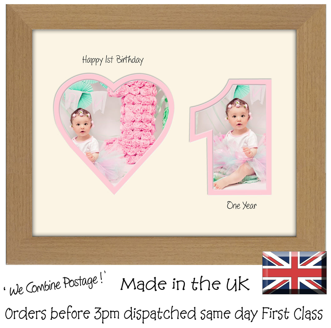 1st Birthday Photo Frame - 1st Birthday with Heart Landscape photo frame 1159F 9
