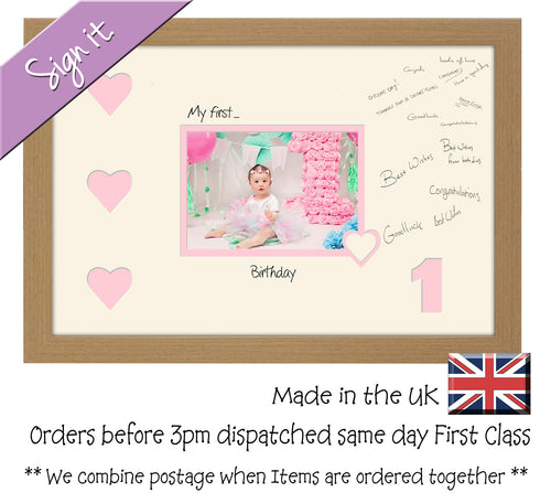 1 - My First Birthday with Hearts Signing Guest Photo Frame Double Mounted Gift 1st 7