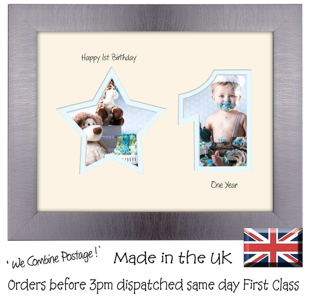 1st Birthday Photo Frame - 1st Birthday with Star Landscape photo frame 1160F 9