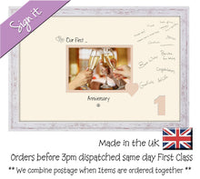 "1st Anniversary Signing Guest Photo Frame Gift 7""x5"" Photo by Photos in a Word 689D 450mm x 297mm mount size  , Choices of frames & Borders"