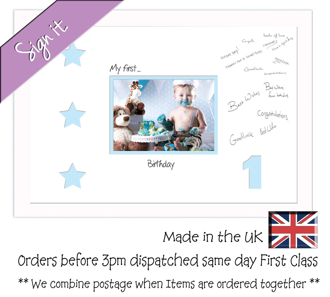 1 - My First Birthday with Stars Signing Guest Photo Frame Double Mounted Gift 1st 7