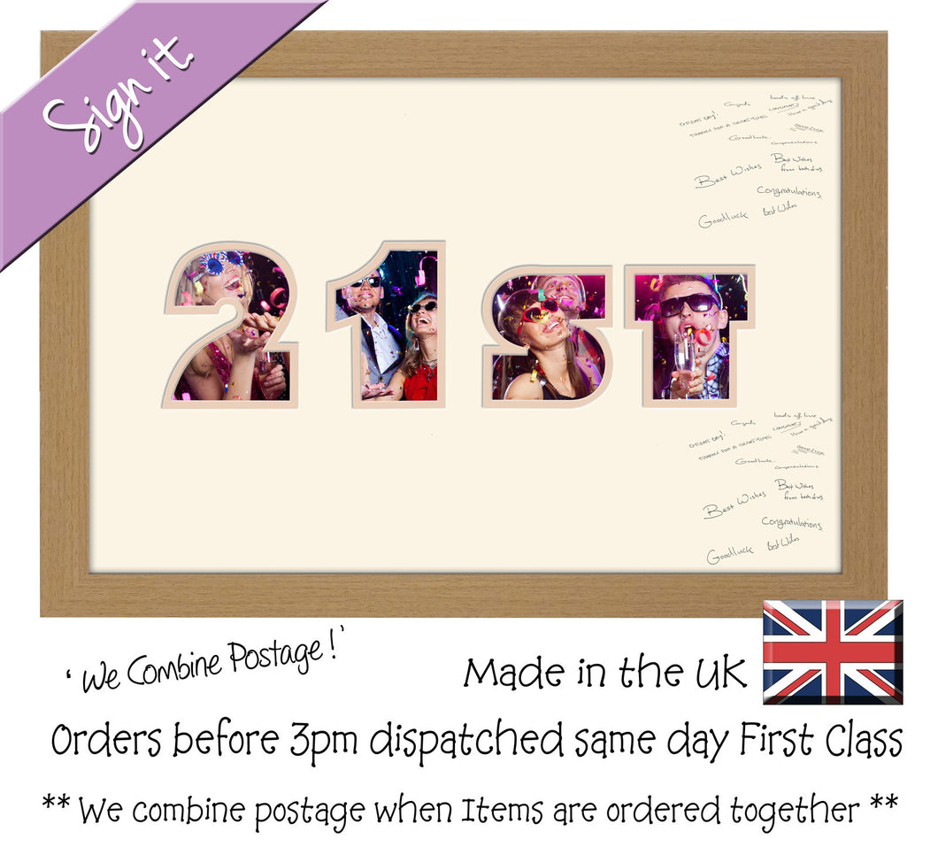 21st Birthday Signing Double Mounted Photo Frame 870D 450mm x 297mm mount size  , Choices of frames & Borders