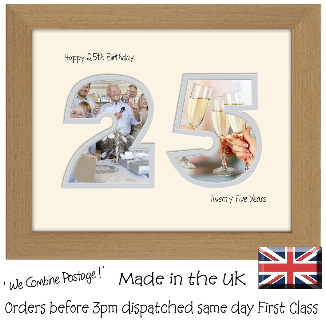 25th Birthday Photo Frame - Twenty Fifth Birthday Landscape photo frame 1181F 9