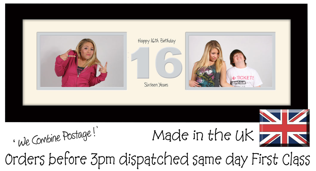 "16th Birthday Photo Frame Sixteenth Gift Takes Two 6""x4"" Landscape Photos 1219A 450mm x 151mm mount size  , Choices of frames & Borders"
