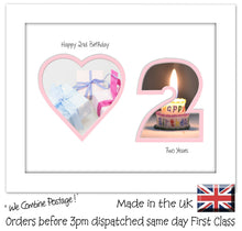 "2nd Birthday Photo Frame - 2nd Birthday with Heart Landscape photo frame 1161F 9""x7"" mount size  , Choices of frames & Borders"