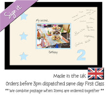 "2nd - My Second Birthday with Stars Signing Guest Photo Frame Double Mounted Gift 1st 7""x5"" 702D 450mm x 297mm mount size  , Choices of frames & Borders"