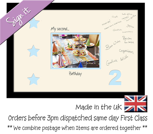 2nd - My Second Birthday with Stars Signing Guest Photo Frame Double Mounted Gift 1st 7