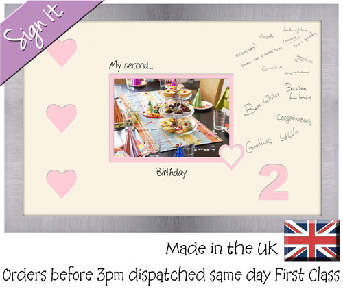 2 - My Second Birthday with Hearts Signing Guest Photo Frame Double Mounted Gift 1st 7