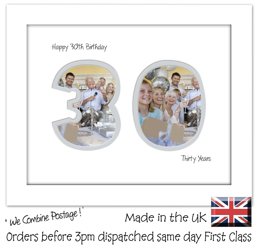 30th Birthday Photo Frame - Thirtieth Birthday Landscape photo frame 1182F 9
