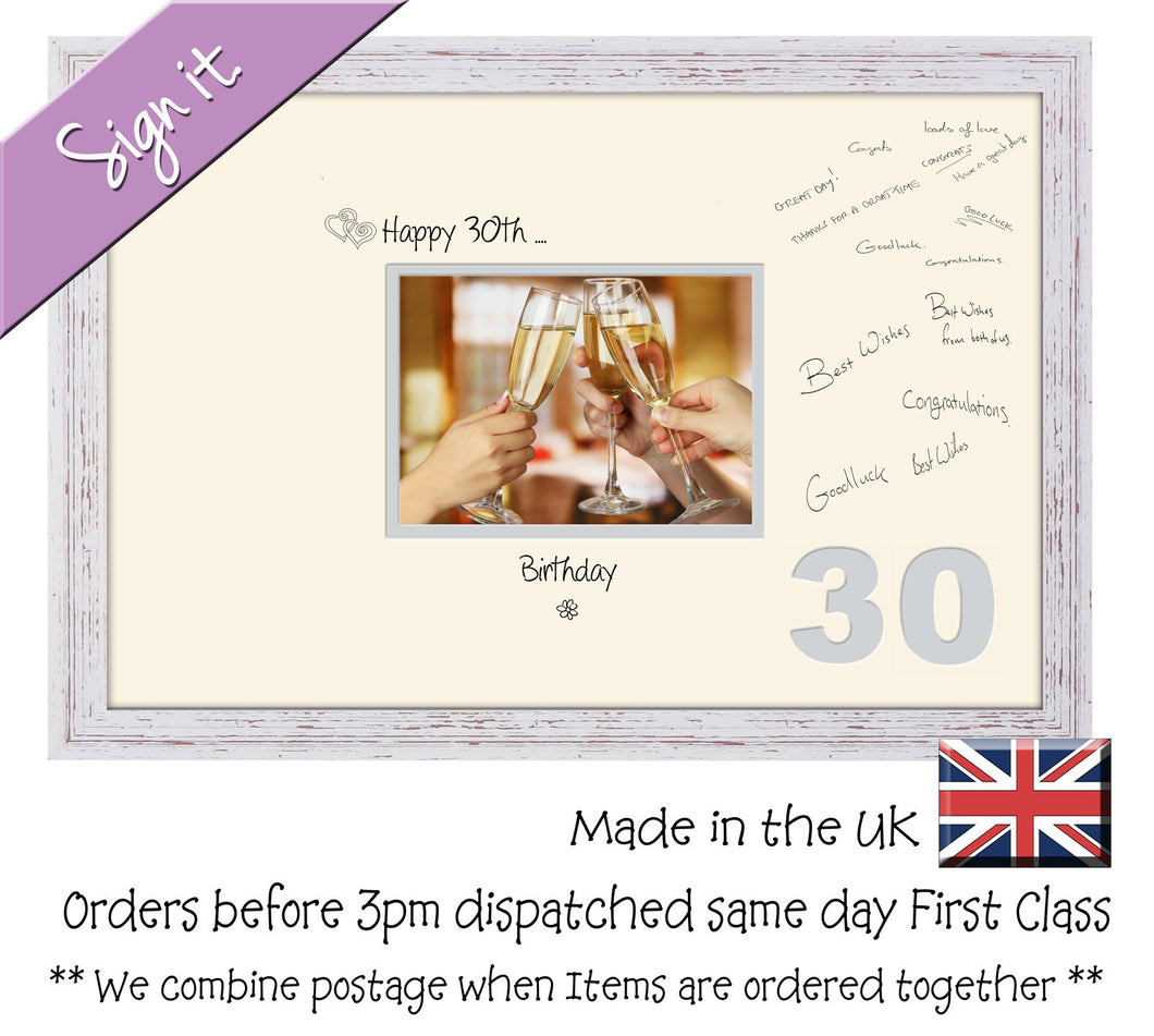 30th Birthday Signing Guest Photo Frame Gift 7x5 Photo by Photos in a Word 664D 450mm x 297mm mount size  , Choices of frames & Borders