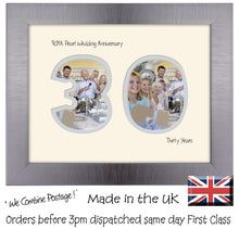 "30th Pearl Wedding Anniversary Photo Frame - Thirtieth  Anniversary Landscape photo frame 1192F 9""x7"" mount size  , Choices of frames & Borders"