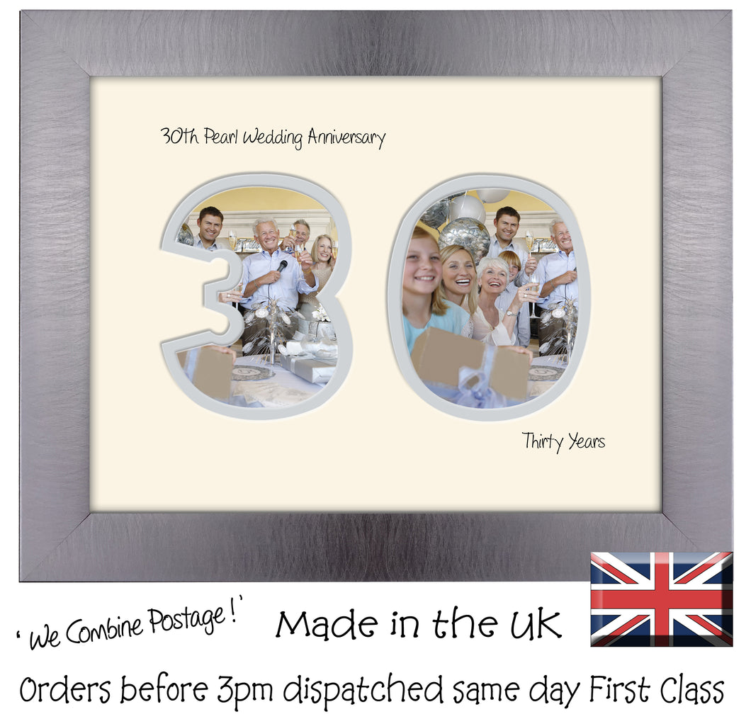 30th Pearl Wedding Anniversary Photo Frame - Thirtieth  Anniversary Landscape photo frame 1192F 9