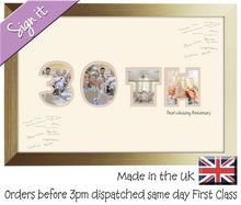 30th Pearl Wedding Anniversary Signing Double Mounted Photo Frame 881D 450mm x 297mm mount size  , Choices of frames & Borders
