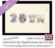 30th Birthday Anniversary Signing Double Mounted Photo Frame 871D 450mm x 297mm mount size , Choices of frames & Borders