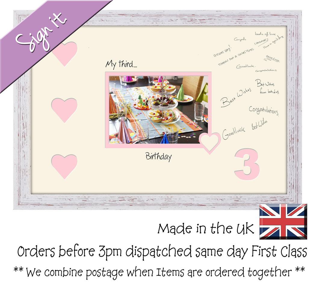 3rd - My Third Birthday with Hearts Signing Guest Photo Frame Double Mounted Gift 1st 7x5 703D 450mm x 297mm mount size  , Choices of frames & Borders
