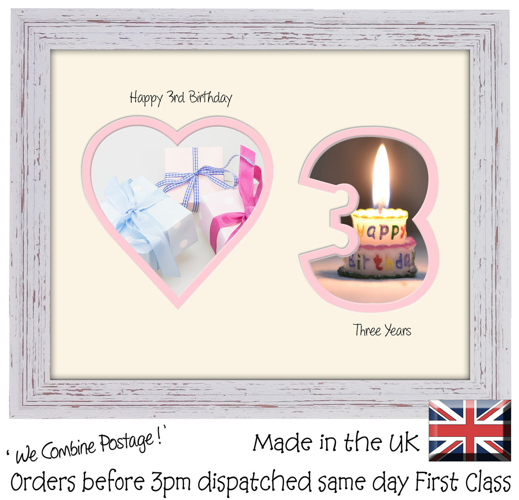 3rd Birthday Photo Frame - 3rd Birthday with Heart Landscape photo frame 1163F 9