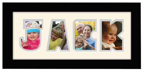4 Letter Photo Frame - Double Mounted Four Letter Custom Personalised Word Photo Frame 1266BB 375mm x 151mm mount size  , Choices of frames & Borders