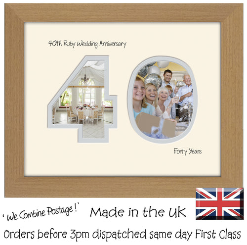 40th Ruby Wedding Anniversary Photo Frame - Fortieth  Anniversary Landscape photo frame 1193F 9