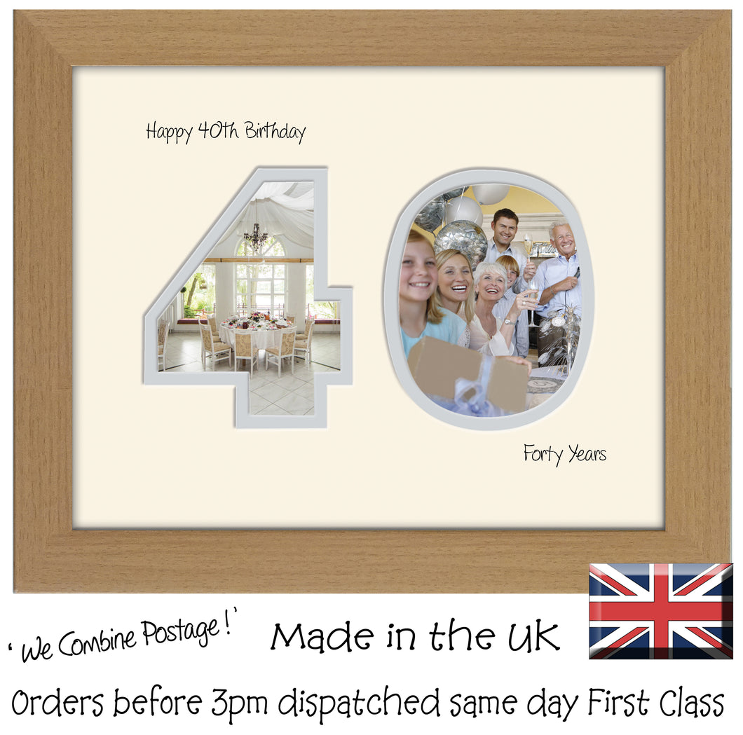 40th Birthday Photo Frame - Fortieth Birthday Landscape photo frame 1183F 9