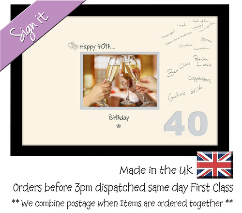 40th Birthday Signing Guest Photo Frame Gift 7
