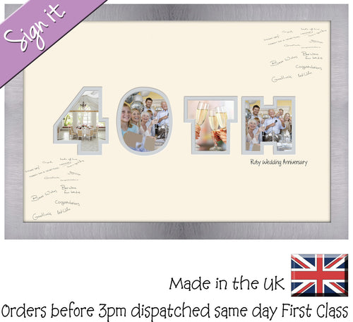 40th Ruby Wedding Anniversary Signing Double Mounted Photo Frame 882D 450mm x 297mm mount size  , Choices of frames & Borders