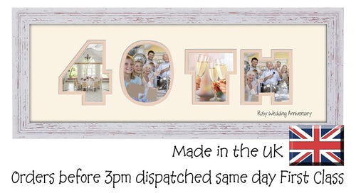 40th Ruby Wedding Anniversary Double Mounted Photo Frame 862A 450mm x 151mm mount size  , Choices of frames & Borders