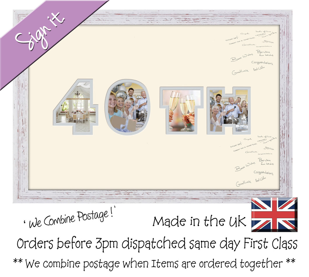 40th Birthday Anniversary Signing Double Mounted Photo Frame 872D 450mm x 297mm mount size  , Choices of frames & Borders