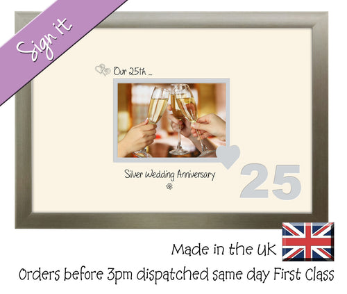 25th Silver Wedding Anniversary Signing Guest Photo Frame Gift 7