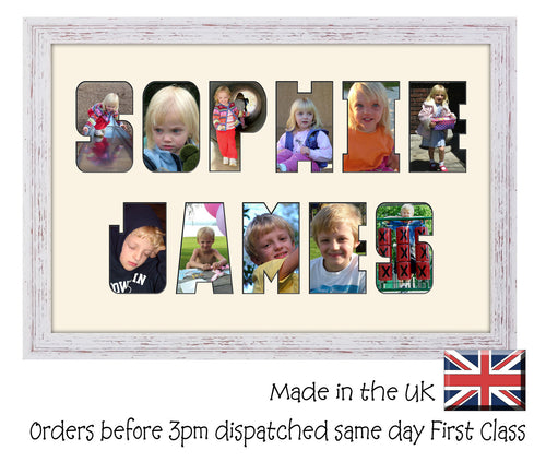 3 to 8 Letters  Double Line Word / Name / Number Photo Frame CBC 450mm x 297mm mount size , Choices of frames & Borders